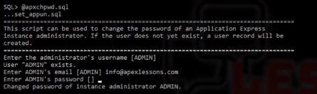 Change Oracle Apex admin password
