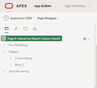 Interactive Report Custom Search